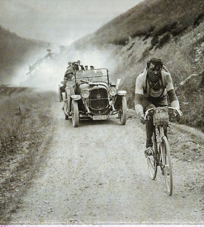 Unknown rider goes over the Peyresourde in the 1921 Tour de France