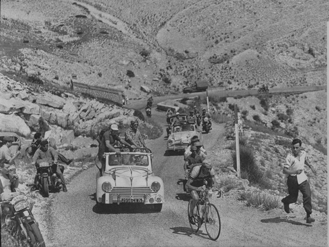 Louison Bobet climbing Mont Venoux in the 1955 Tour de France