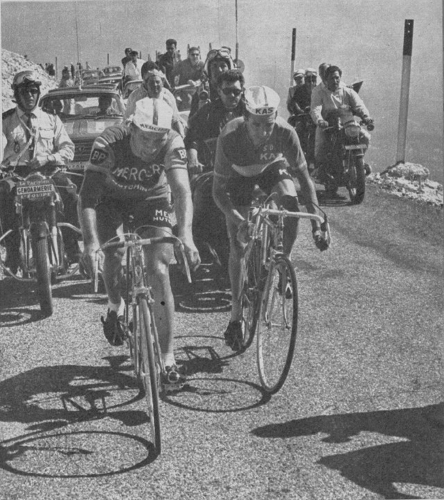 Raymond Poulidor and Julio Jimenez on mont Ventoux in the 1965 Tour de France