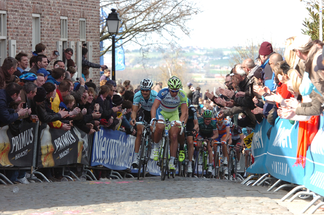 Peter Sagan leads Tom Boonen up the Old Kwaremont
