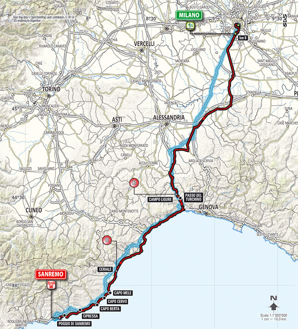 2014 Milano-San Remo map