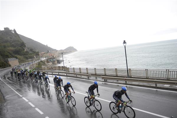 The peloton rides up the coast