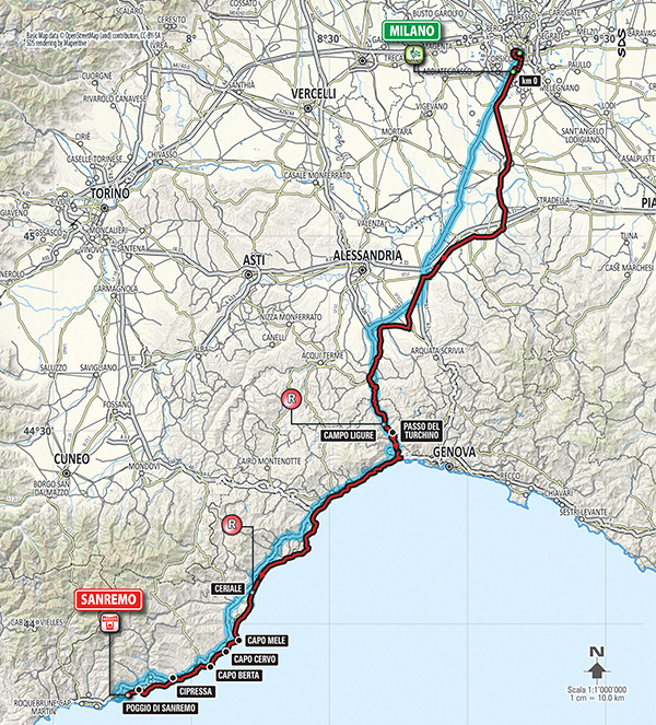 2015 milano-San Remo map