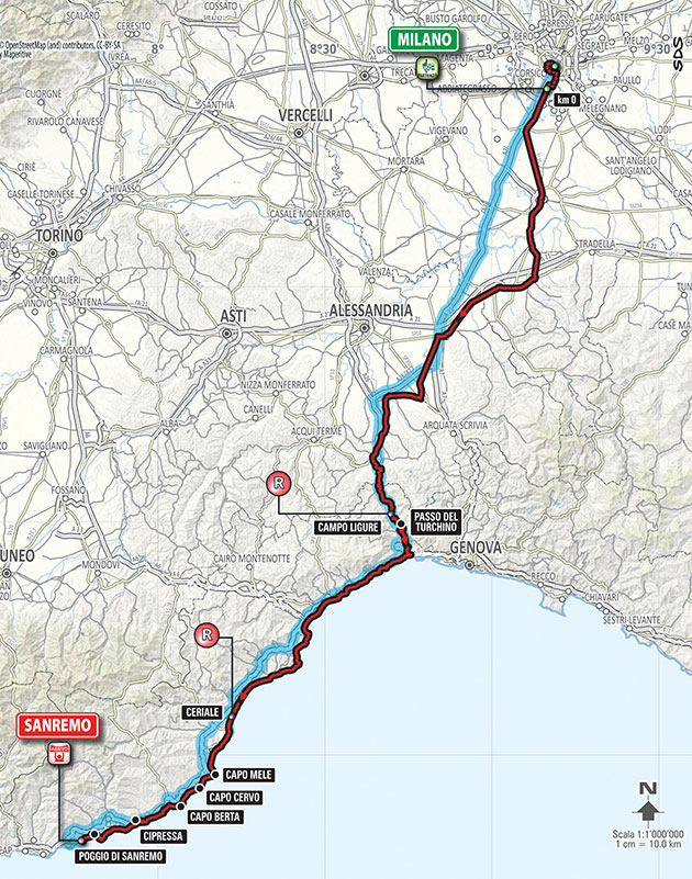 2016 Milan San Remo map