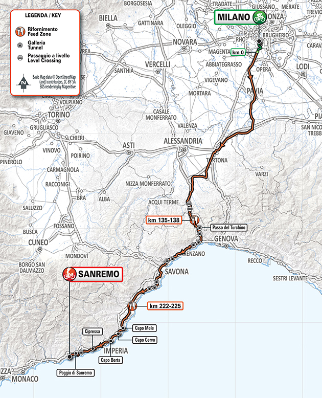 Milan San Remo map