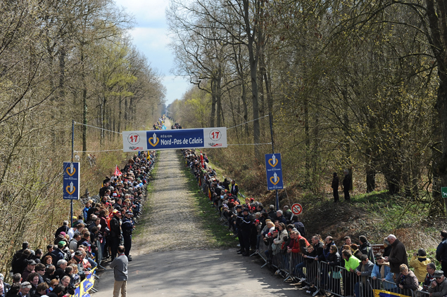 Fans wait at the Arenberg Forest