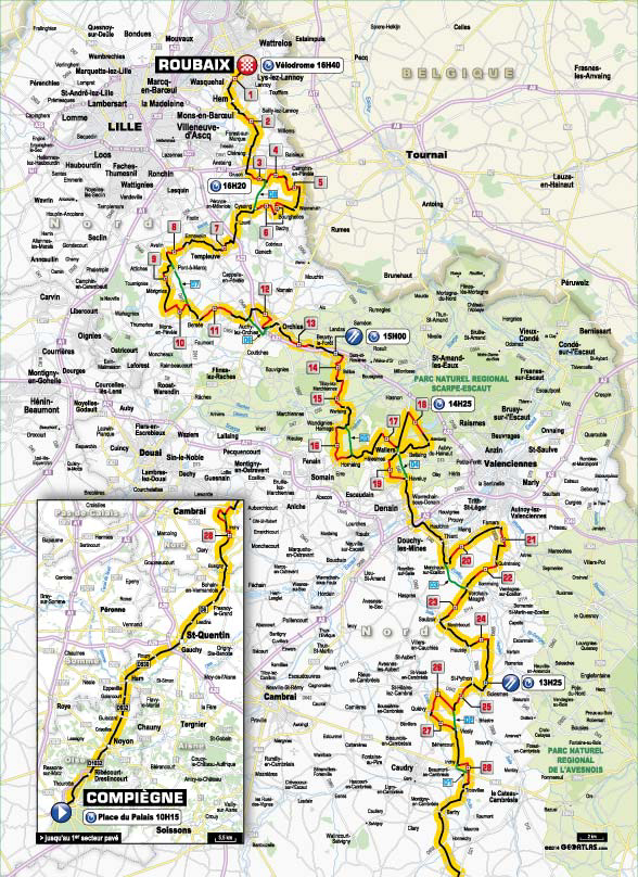 2014 Paris-Roubaix course map
