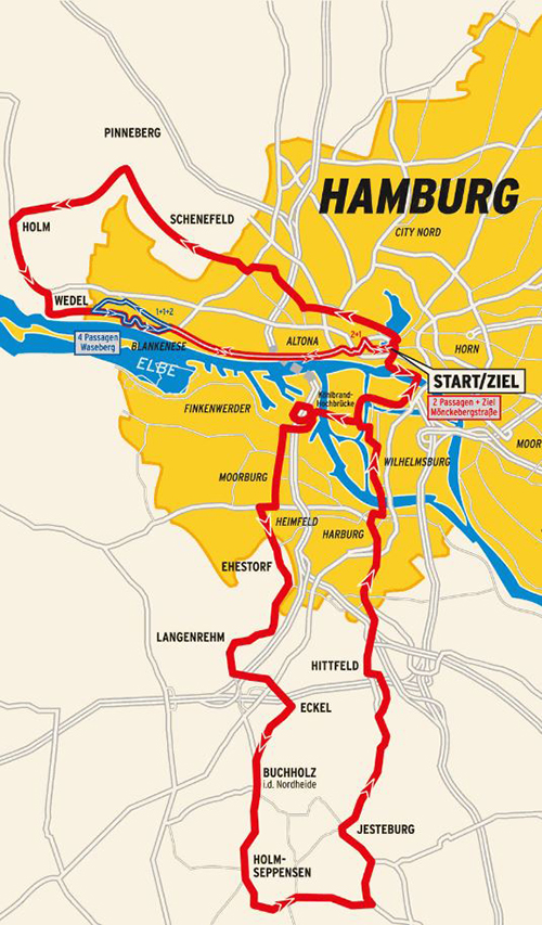 2015 Vattenfall Cyclassics route map