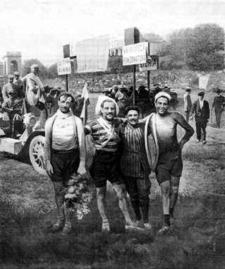 The top four tiders at the end of the 1909 Giro