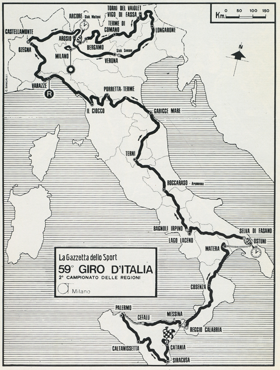1976 Giro d'Italia race map