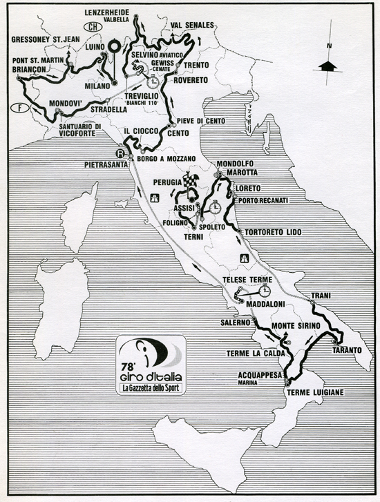 Map of 1995 Giro d'Italia