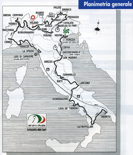 Map of 1997 Giro d'Italia