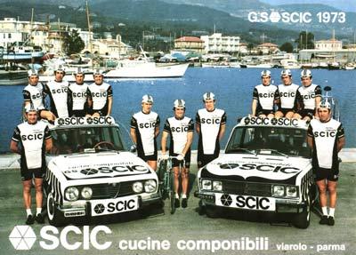 Vercelli s 1973 SCIC team. Vercelli is standing in the left car b75532642