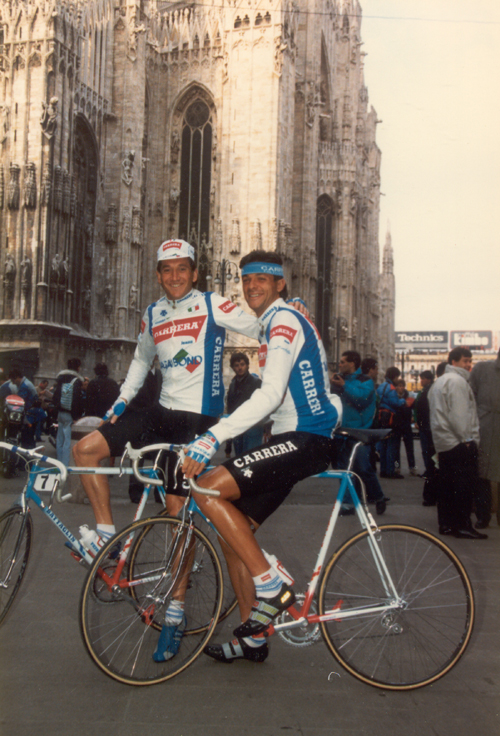 Chiappucci and Fabio Bordanali at the start of 1988 Milano-San Remo