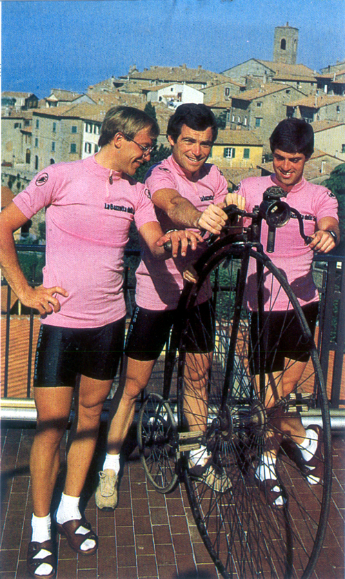 The three pink jeresey of the 1982 Giro d'Italia