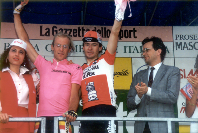 Laruent Fingon wearing the pink jersey at teh 1989 MGiro-d'Italia