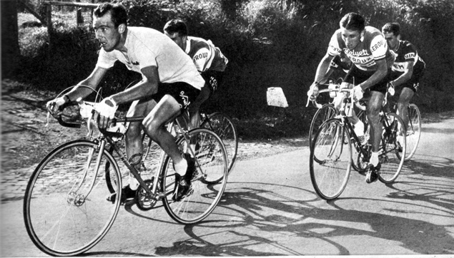 Charly Gaul with Jacques Anquetil in the 1959 Giro d'Italia