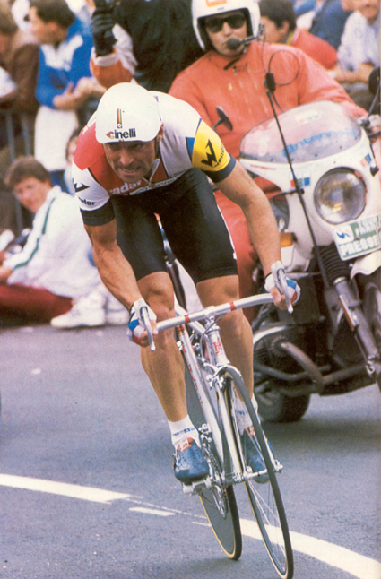 Bernard Hinault riding to victory in the prologue of the 1985 Tour de France