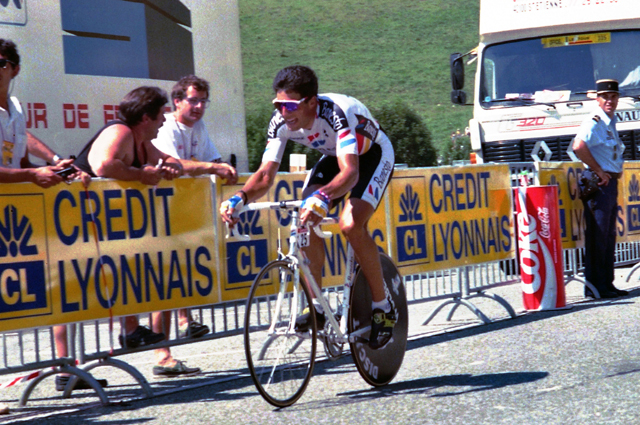 Miguel Indurain riding the stage 12 time trial of the 1990 Tour de France