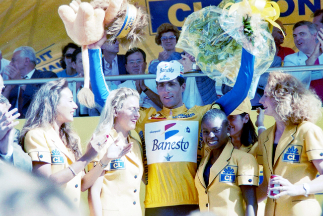 Miguel Indurain after stage 15 of the 1991 Tour de France