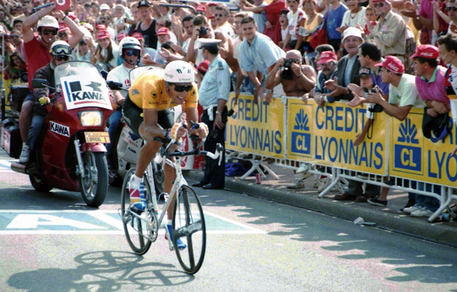 Indurain rides the final timr trial of the 1991 Tour de France