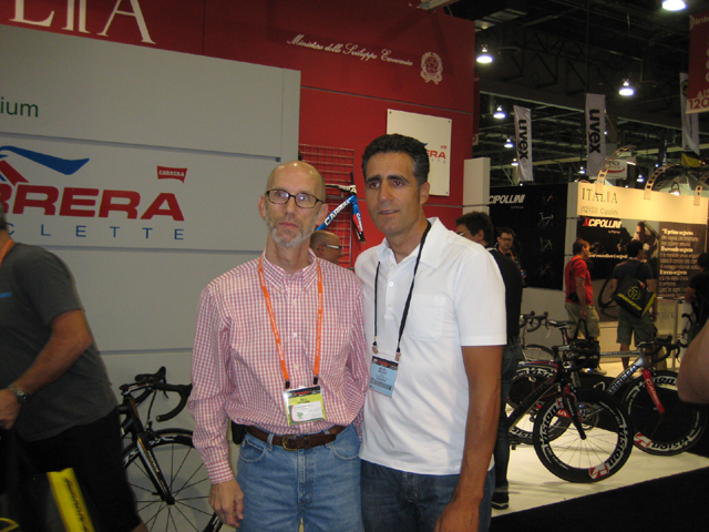 Chairman Bill and Induráin at the 2013 Interbike show