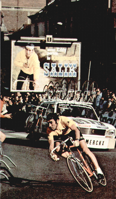 Eddy Merckx rides the 1975 Tour de France prologue