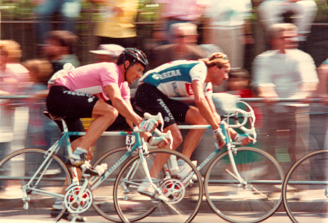 Roche rides the 20th stage of the 1987 Giro