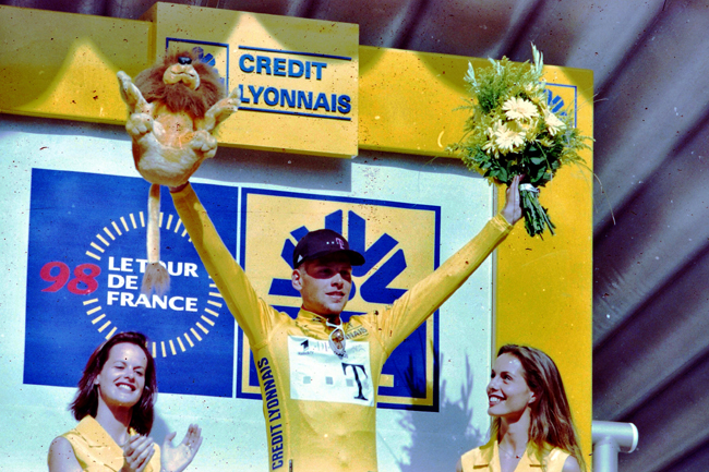 Ullrich in yellow after stage 7 of the 1998 Tour de France
