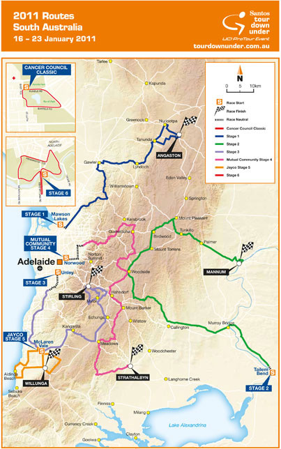 Map of 2011 Tour Down Under