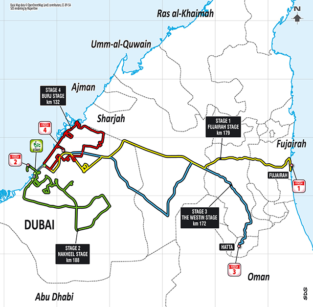 2016 Tour of Dubai map