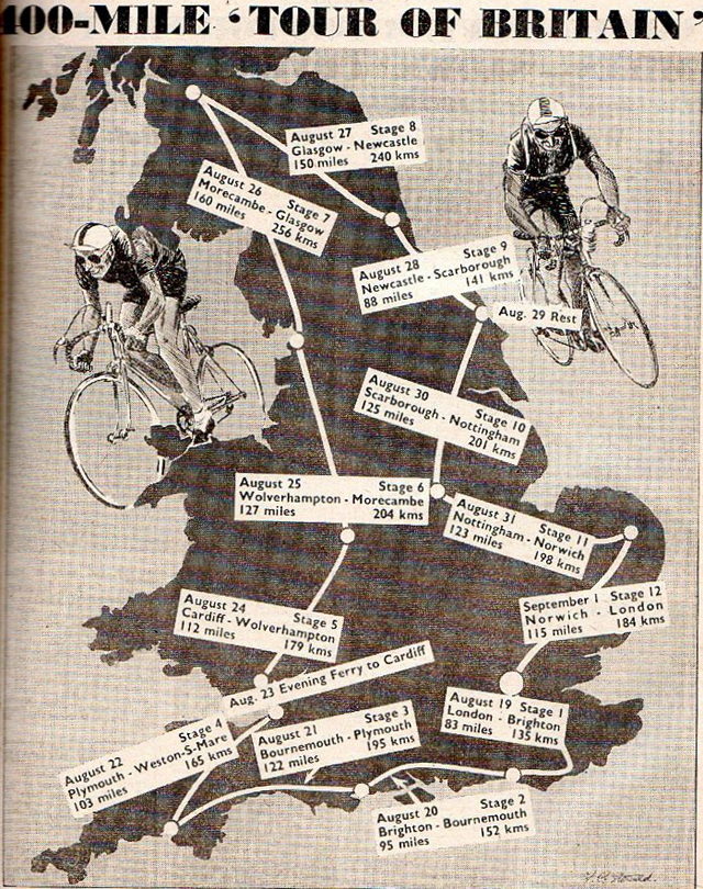 1951 Tour of Britain map