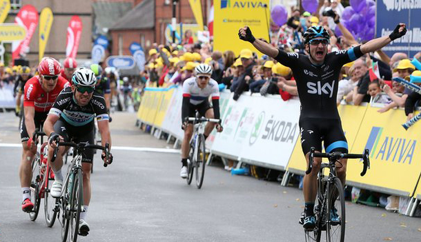 Elia Viviani wins Britain Tour stage 1