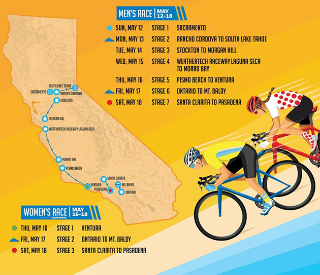2019 Tour of California map