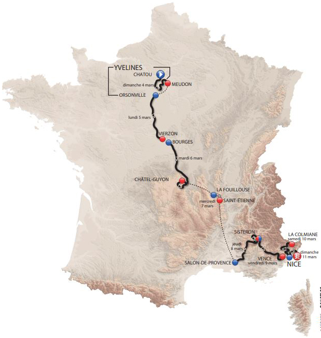2018 Paris-Nice map