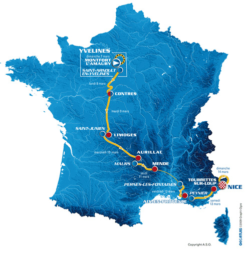 Paris-Nice route map