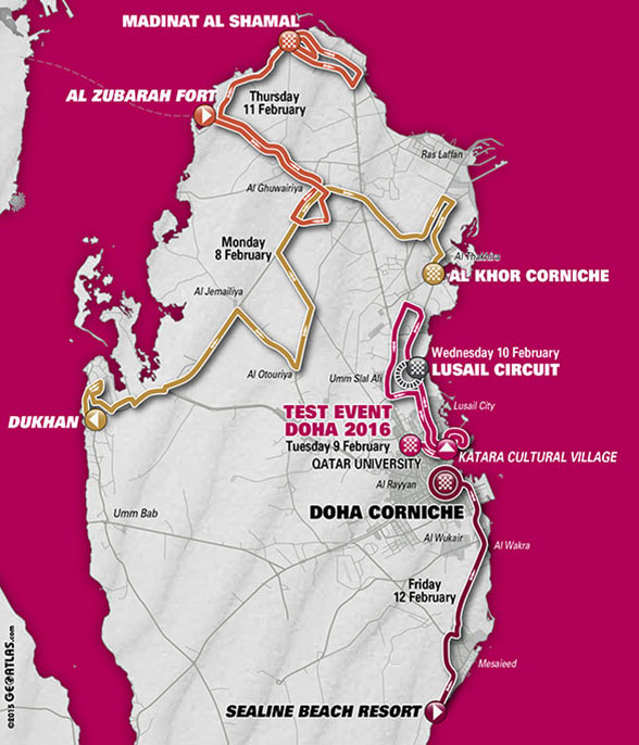 2016 Tour of Qatar map