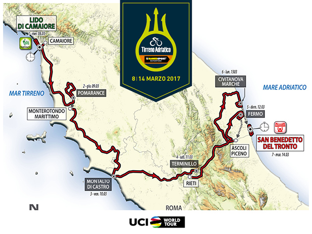 2017 Tirreno-Adricatico map