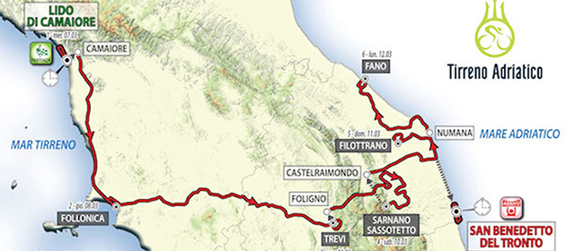 2018 Tirreno-Adriatico map