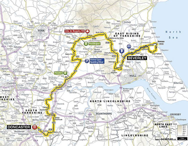 Tour of Yorkshire stage 1 map
