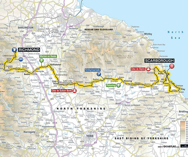 Tour of Yorkshire stage 3 map