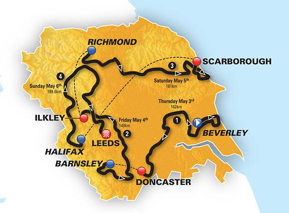 2018 Tour de Yorkshire map