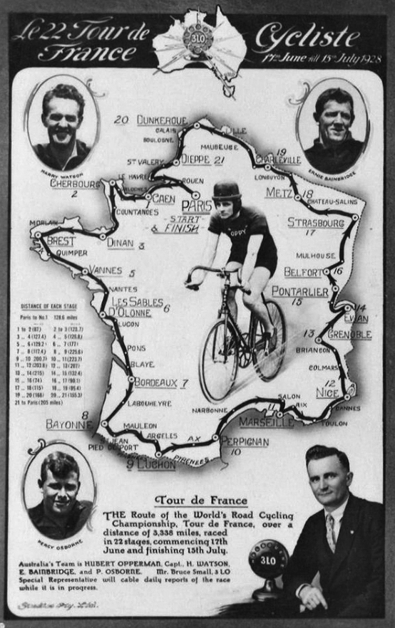 Map of the 1928 Tour de France
