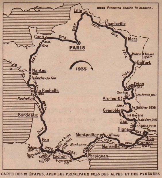 map of the 1935 Tour de France
