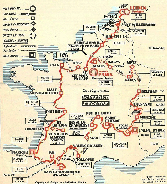 Map of the 1978 Tour de France