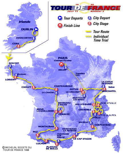 Map of the 1998 Tour de France