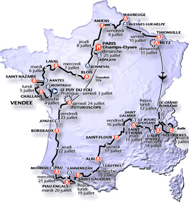 Map of the 1999 Tour de France