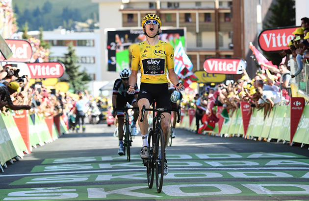 f7e27fef1 Hard to beat winning at l Alpe d Huez in yellow. Geraint Thomas takes the  stage.