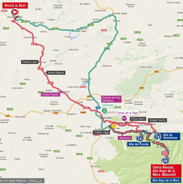 Vuelta stage 15 map