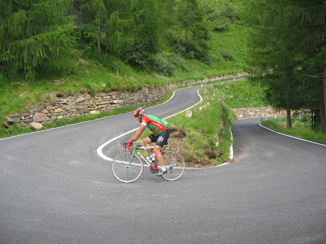 Larry Theobald of CycleItalia ascending the Gavia's south face.